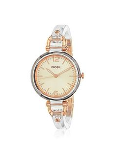Fossil Women's ES3481 Georgia Transparent/Rose Resin Watch