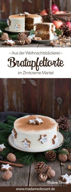 Bratapfeltorte im Zimtcreme-Mantel Advent, Advent - Baked apple cake in a cinnamon creme coat Even with the wonderful scents that flow through the apartment when baking this Christmas baked app Christmas Desserts, Christmas Baking, Christmas Cookies, Christmas Holidays, Christmas Fashion, Christmas Recipes, Snow White Cream, Dessert Design, Apple Desserts