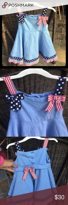 OMG the cutest 4th of July Dress!🇺🇸 An adorable dress for your little firecracker! Don't miss out on this unique dress. Has a built in liner/petty coat. Bonnie Baby Dresses Casual