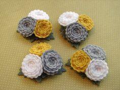 Wool Felt Flowers  Scallop Button Flower от AMarketCollection