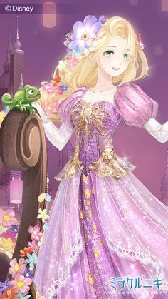 Rapunzel and Pascal the chameleon in Anime style Disney Princess Rapunzel, Disney Princess Pictures, Disney Princess Drawings, Princess Cartoon, Anime Princess, Disney Tangled, Disney Drawings, Princess Aurora, Cute Disney