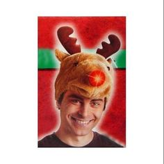 ed9bd7407c47c Light Up Festive Plush Adult Rudolph the Red-Nosed Reindeer Christmas Hat