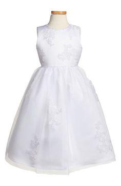 Main Image - Joan Calabrese for Mon Cheri Floral Appliqué Satin & Organza Dress (Toddler Girls, Little Girls & Big Girls)