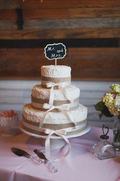 Pink Texas Wedding from Loft Photographie « Southern Weddings Magazine burlap chalkboard wedding cake