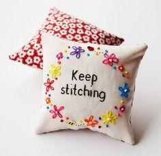 Hand Embroidered Pincushion 'Keep Stitching' by PixiecraftHandmade