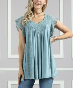 Love this Dusty Blue Lace Notch-Neck Tunic - Plus Too on #zulily! #zulilyfinds