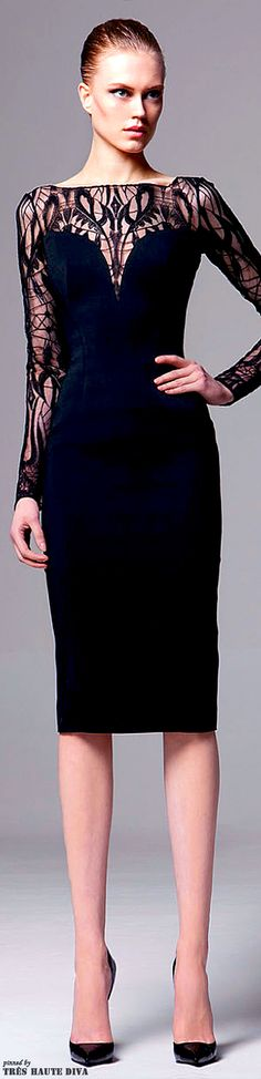 Zuhair Murad Pre-Fall 2014 black cocktail dress with lace