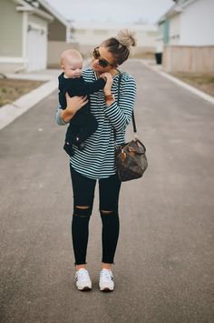 This is one of those totally practical outfits as a mom, and sometimes that's exactly what I need! This amazing striped top is from Clad an...