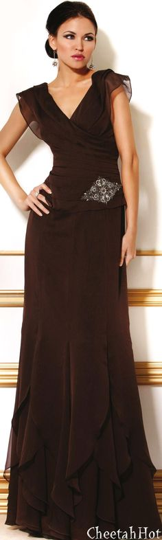 JOVANI - Authentic Designer Dress - Elegant Long Gown - Espresso