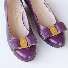 1960s Ferragamo Plum Heels