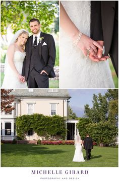Portraits of Bride and Groom in the Garden on a Sunny Day :: Holding Hands after Wedding Ceremony :: Wedding Ceremony at Wistariahurst Museum in Holyoke, Massachusetts :: Wedding Reception at Oak Ridge Golf Club in Feeding Hills, Massachusetts :: Michelle Girard Photography and Design