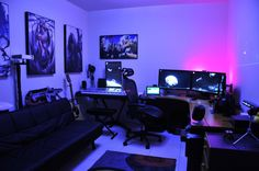 Awesome home music studio / gaming workstation room.