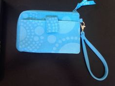 Thirty One 31 Gifts Wristlet Zip Wallet Aqua Circle Spiral Removable Strap  | eBay