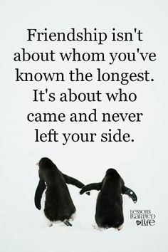 Friendship isn't about whom you've know on the longest.  It's about who cae and never left your side.