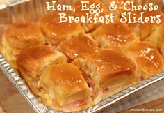 """Gameday Breakfast sliders. 1 pkg (12 count) Hawaiian Rolls 10 –12 eggs (depending on egg size & how """"eggy"""" you want your sliders) provolone cheese sliced ham (at least 6 large slices) 1/4C butter (melted) 1T mustard 1.5T brown sugar. Sprinkle them with poppyseed if not already on rolls."""