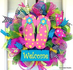 80e8b08a7 Large Flip Flop Summer Deco Mesh Wreath with by SouthernAccentsEtc ...
