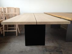 Tree Table and dk3_3 Table with black legs! Picture taken in the carpentry. #dk3 #Tree #Table #Oak #Steel #Jacob #Plejdrup #Carpentry www.dk3.dk