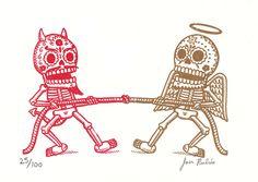Tug of War by Jose Pulido Mexico Tattoo, Day Of The Dead Artwork, Logo Luxury, Mexican Art Tattoos, Sugar Skull Tattoos, Chicano Art, Flash Art, Skull Art, Tatting