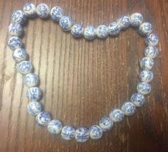 Vintage Rare Asian Blue & White Symbol Bat Design Round Ceramic Bead Strand Lot #Beads