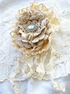 Handmade Vintage Doily Brooch Textile Art Fabric Flower Pin by ShabbySoul.etsy.com