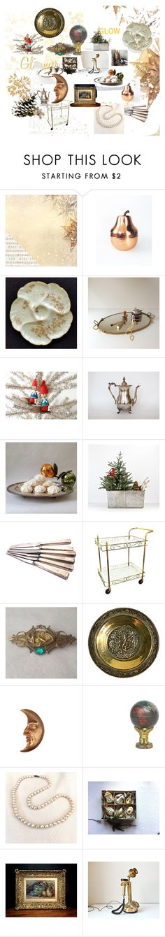 """A Glimmer of Holiday Glam"" by gentlemanlypursuits on Polyvore featuring interior, interiors, interior design, home, home decor, interior decorating, Kaisercraft and vintage"