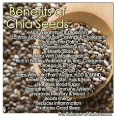 Chia seeds are a healthy eater's dream, because when added to foods, it bulks them up, displacing calories and fat without diluting the flavor. PLUS, you get a bellyful of nutrient-rich superfood goodness, that hydrates and prevents illness.
