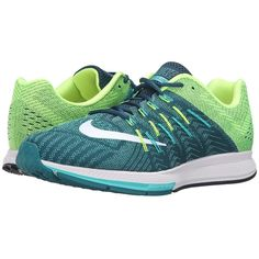 Nike Air Zoom Elite 8 (Midnight Turquoise/White/Clear Jade/Volt) Men's... ($115) ❤ liked on Polyvore featuring men's fashion, men's shoes, men's athletic shoes, mens lace up shoes, mens running shoes, nike mens shoes, mens breathable shoes and mens white athletic shoes