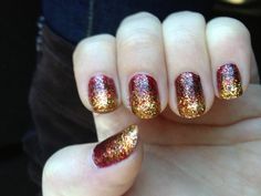 Perfect sparkle ombré nails for fall!!