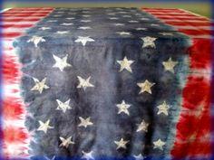 Stars and Stripes Faux Batik Tie Dye Table Cloth ...