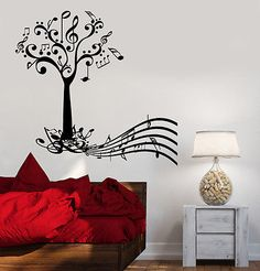 Wall Vinyl Music Tree Notes Flower Guaranteed Quality Decal (z3525)