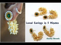 How to make Simple Pearl Loreal Earrings in 5 Minutes Silk Thread Earrings, Silk Thread Bangles, Thread Jewellery, Beaded Earrings, Earrings Handmade, Beaded Jewelry, Handmade Jewelry, Diy Jewellery, Beaded Chocker
