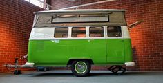 Dub Box makes new trailers better than vintage. Kombi Trailer, Vw T1 Camper, Volkswagen Bus, Volkswagen Beetles, Camper Life, Camping Hacks, Vw Camping, Vintage Trailers, New Trailers