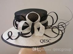 Wholesale Derby Hat - Buy Ivory/Black Sinamay Church Kentucky Derby Hat with Ostrich Spine for Formal Occasion.