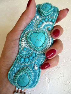 """Купить Браслет """"Бирюзовое настроение 2"""" - бирюзовый, браслет из бисера, Вышивка бисером, бирюзовый браслет Bead Embroidered Bracelet, Embroidery Bracelets, Beaded Cuff Bracelet, Bead Embroidery Jewelry, Beaded Embroidery, Beaded Jewelry Designs, Seed Bead Jewelry, Bead Embroidery Tutorial, Bead Weaving"""