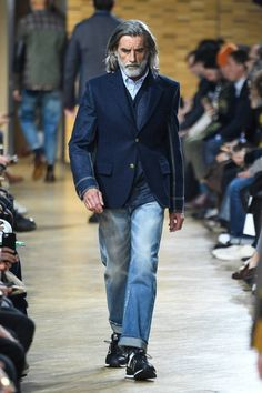 """Junya Watanabe Makes Old Look Cool for Utilizing patchwork and heritage style in """"Silver Swagger. Fashion For Men Over 60, Older Mens Fashion, Old Man Fashion, Mature Fashion, Denim Fashion, Paris Fashion, Junya Watanabe, Casual Street Style, Mens Clothing Styles"""