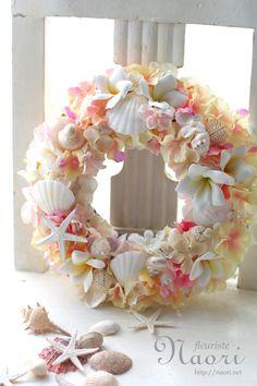 Plumeria Hydrangea shell wreath 紫陽花とプルメリアの貝殻リース