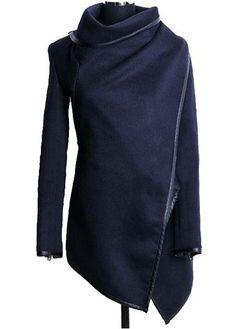 Vogue Long Sleeve Turndown Collar Blue Coat for Woman | Rosewe.com