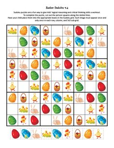 Easter Sudoku Puzzles - Gift of Curiosity Easter Activities, Activities To Do, Easter Puzzles, Sudoku Puzzles, Critical Thinking Skills, Easter Printables, 4 Kids, Easter Crafts, Digimon