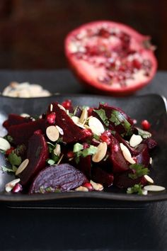 Moroccan Oven Roasted Beet Salad Recipe with Almonds and Pomegranate Seeds | Healthy, Gluten-Free Side Dish