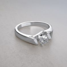 Square Edge 1/4 ctw Diamond Engagement Ring in 14k White Gold