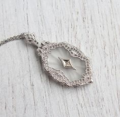 Antique 10K White Gold Camphor Glass Diamond Necklace - Vintage Art Deco 1930s Filigree Fine Pendant Jewelry / Crystal Rock & Diamond