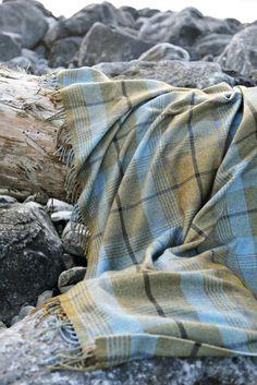 Duncan MacGillivray Wool/Cotton throw, photographed in The Burren, Ireland.