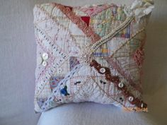 Applique Pillows, Throw Pillows, Hand Crochet, Crocheted Lace, Old Ties, Hand Quilting, Crazy Quilting, Crazy Quilt Blocks, Miniature Quilts