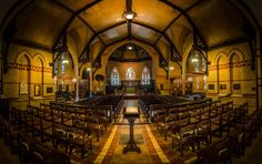 This is an HDR panorama of the Church of the Redeemer in Toronto - created from 3 exposures series (3 shots each), merged, stitched and edited in Lightroom.