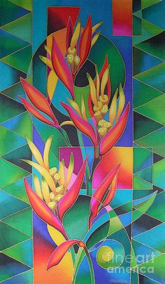 Island Flowers - Heliconia Painting