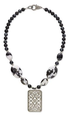 """Single-Strand Necklace with Gunmetal-Plated Steel Focal, Gemstone Beads and Antiqued """"Pewter"""" Beads"""