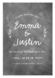 """""""Whimsical Hitch"""" - Rustic Save The Date Postcards in Chalkboard by WHALEN."""