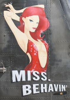 Miss Behavin Nose Art Pinup | ... artfully cartoony take on the classic pinup (RCAF Chinook helicopter