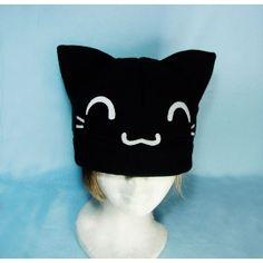 Cute Black Kitty, cat,animal,hat,fabric,gorros,tela,gato,