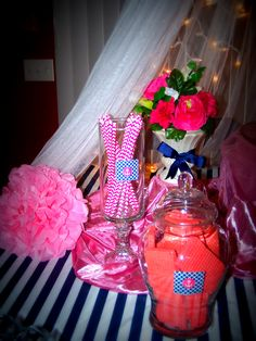 navy and pink baby shower i decorated